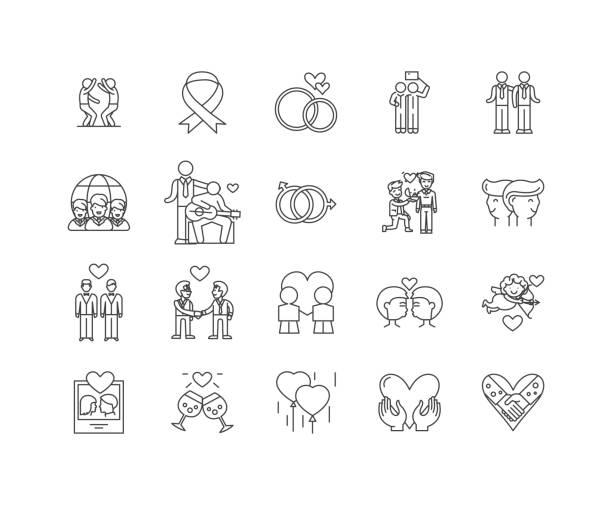 Icônes de ligne gay, signes, vecteur ensemble, concept d'illustration de contour - Illustration vectorielle