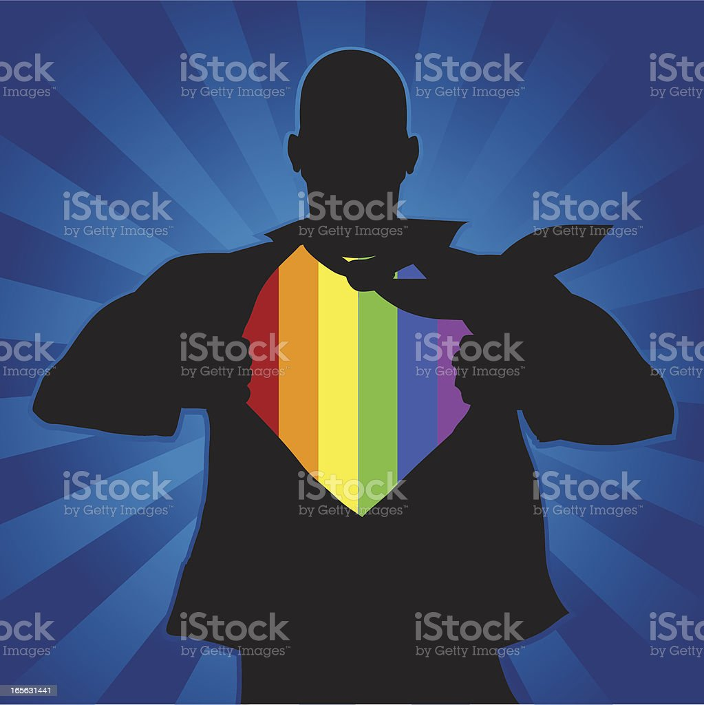 Gay man revealing his colors royalty-free stock vector art
