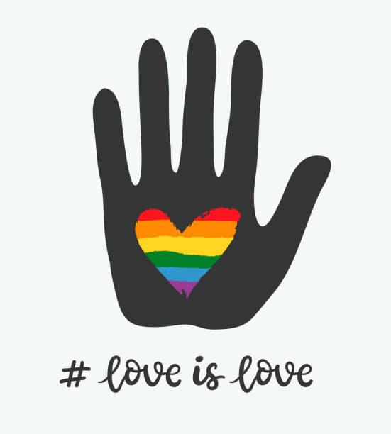 stockillustraties, clipart, cartoons en iconen met vrolijke poster met regenboog hart in de hand. lgbt-rechten-concept - lgbt flag