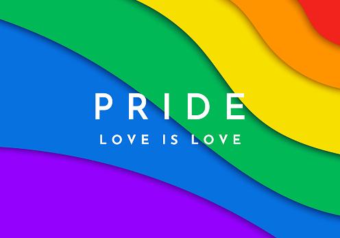 Gay Pride banner. Paper cut rainbow spectrum flag