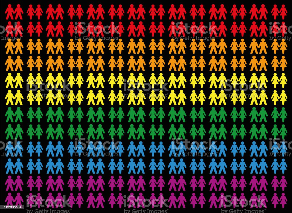 Gay pride colored background with gay and lesbian love couples, symbol for tolerance, equal rights and liberty concerning homosexual lifestyle - icons that form a colorful field. Vector on black. - arte vettoriale royalty-free di Adulto