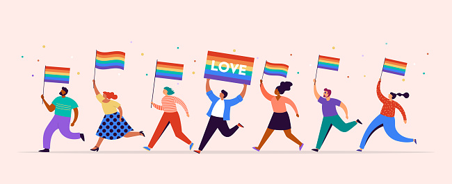 Gay Pride concept illustration. Group of people marching, men and women walking with rainbow flags. Parade to support gay rights