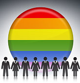 Gay Pride Flag Button with Business Concept Stick Figures