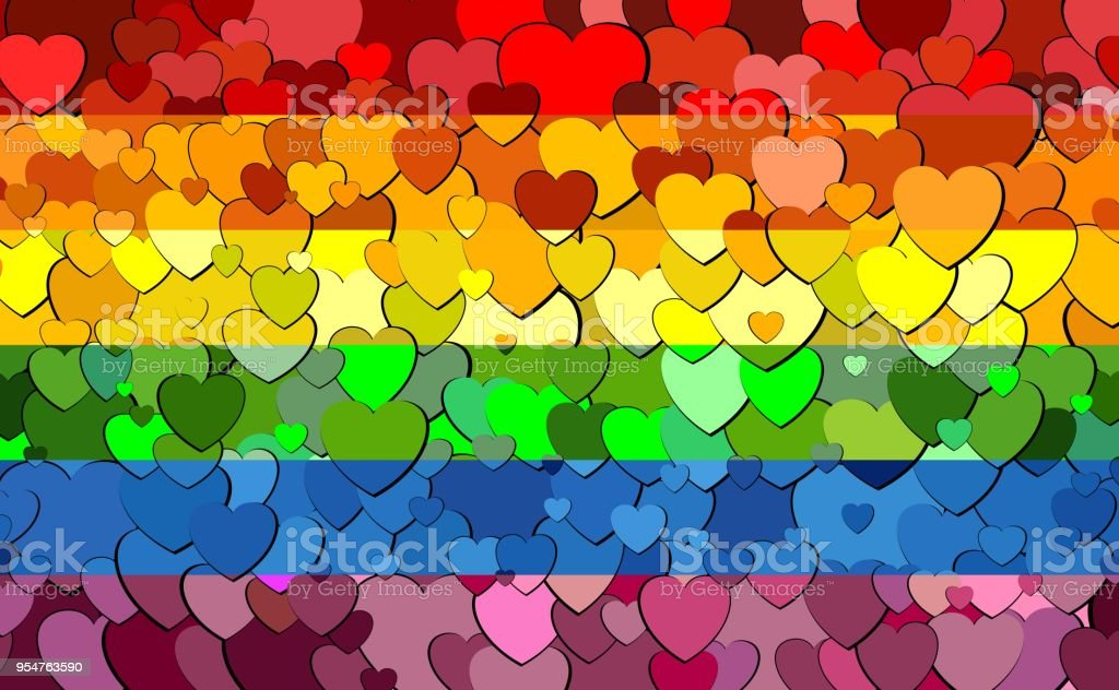 Bandera de orgullo gay hecha de corazones de fondo - ilustración de arte vectorial