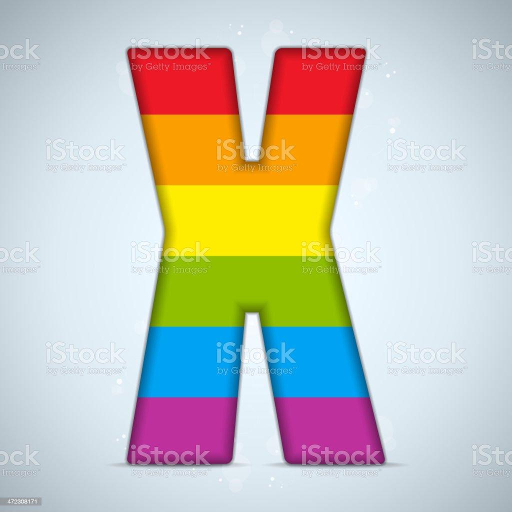 Gay Pride Glass Alphabet with Rainbow Flag royalty-free stock vector art