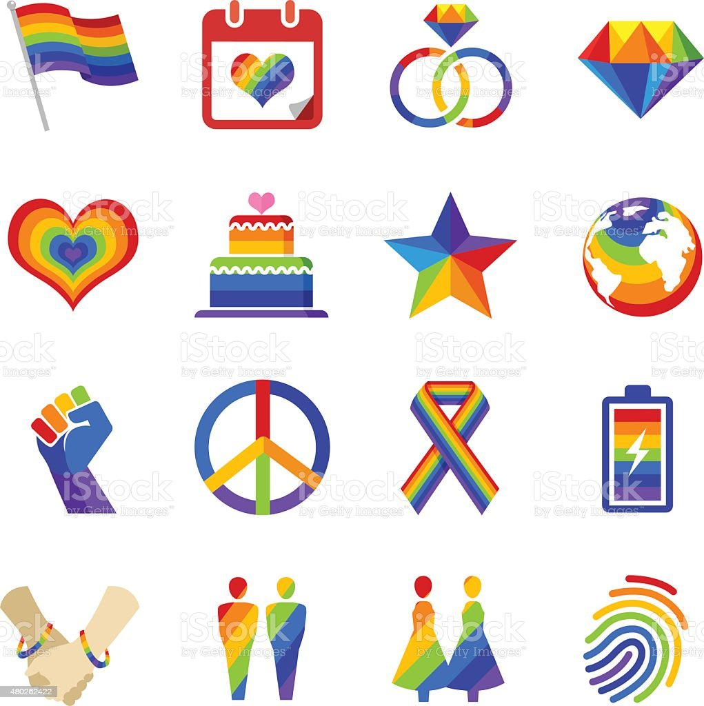 Gay pride icons vector art illustration