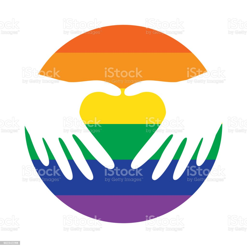 lgbt gay pride logo icon vector hands making a heart on circle with rh istockphoto com gay pride color meaning gay pride logos and designs