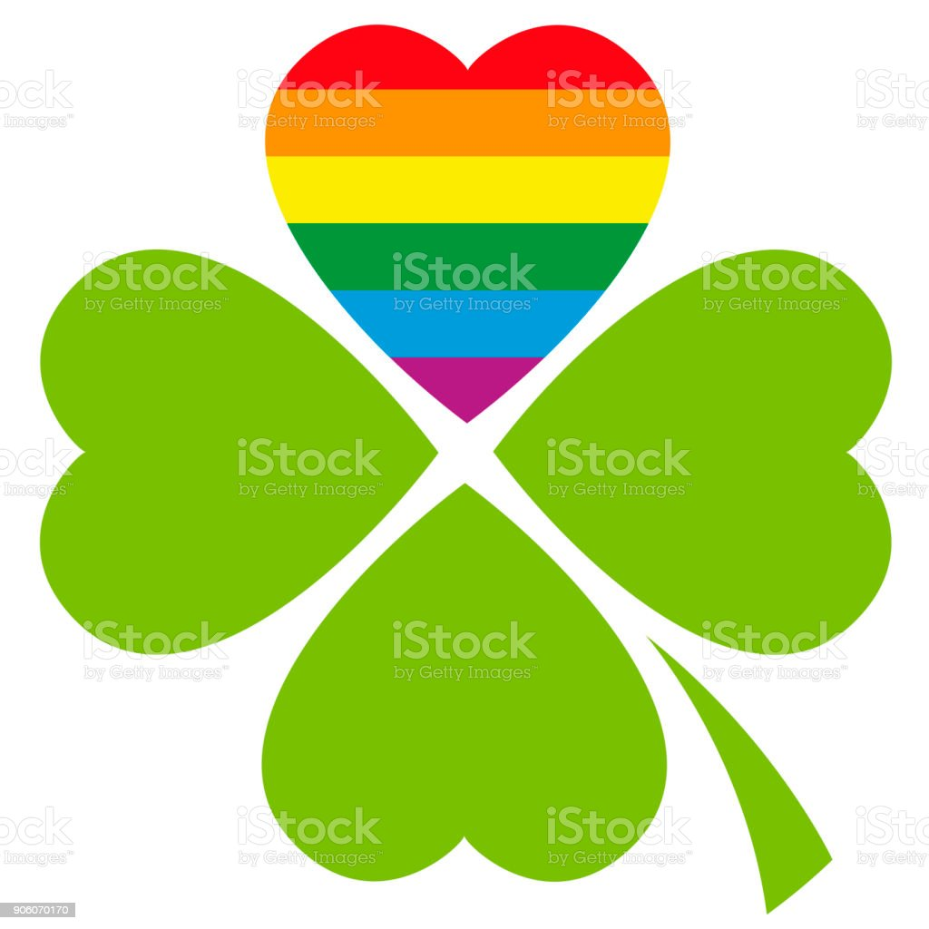 Gay Pride Lucky Clover With The Lgbt Movement Flag Color In A Heart