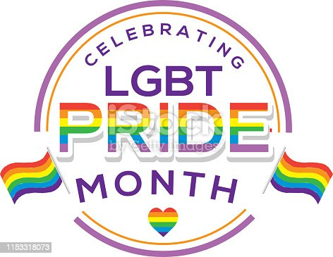 Vector illustration of a Gay Pride or LGBT Happy Pride Month label or sticker design. Includes LGBT symbol with flag. Fully Editable. EPS 10