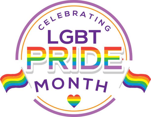 Gay Pride or LGBT Happy Pride Month label or sticker design vector art illustration