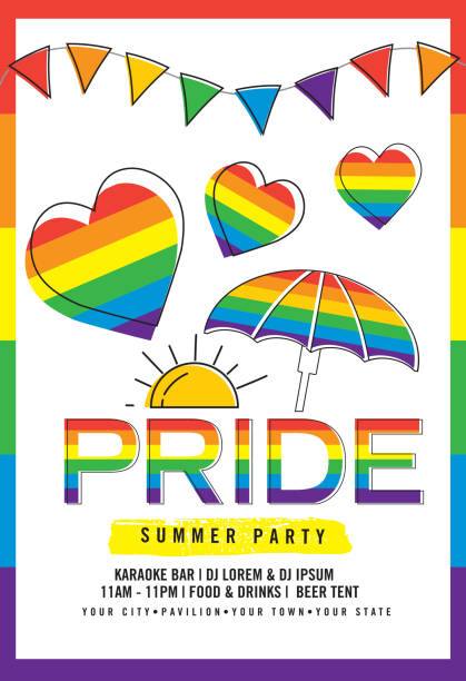 Gay Pride or LGBT party summer poster design template vector art illustration