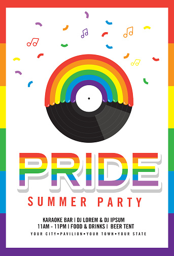 Gay Pride or LGBT party summer poster design template