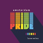Gay Pride poster rainbow spectrum flag, homosexuality emblem in retro style. Love wins. LGBT rights concept. Parades announcement banner, placard, invitation card design