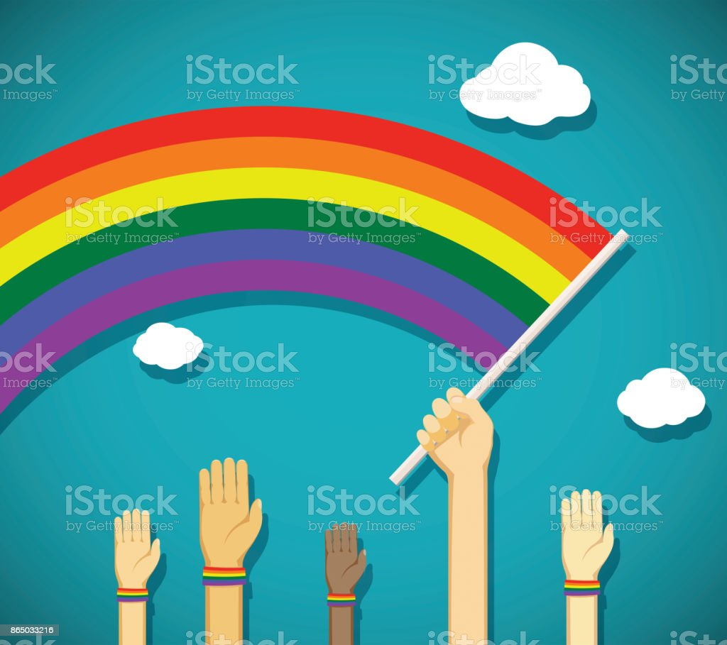 gay rainbow flag vector art illustration