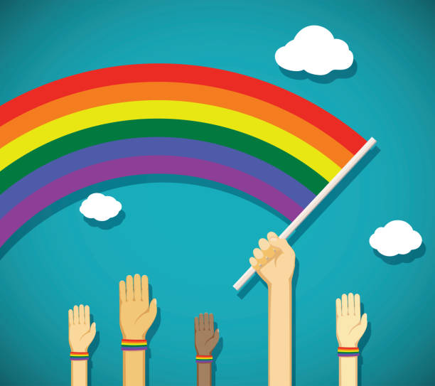 illustrazioni stock, clip art, cartoni animati e icone di tendenza di gay rainbow flag - coppia gay