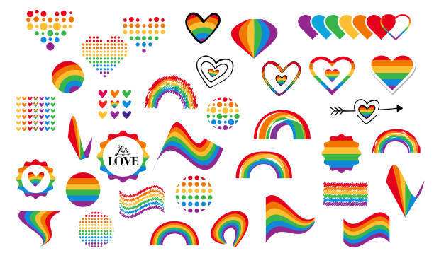 gay rainbow symbols Vector abstract doodles seamless pattern. Hand written pride, love, peace lettering with rainbow. Gay parade slogan. LGBT rights symbol. Isolated. Background, pattern, wrapping paper, bag template, print for packet. gay person stock illustrations