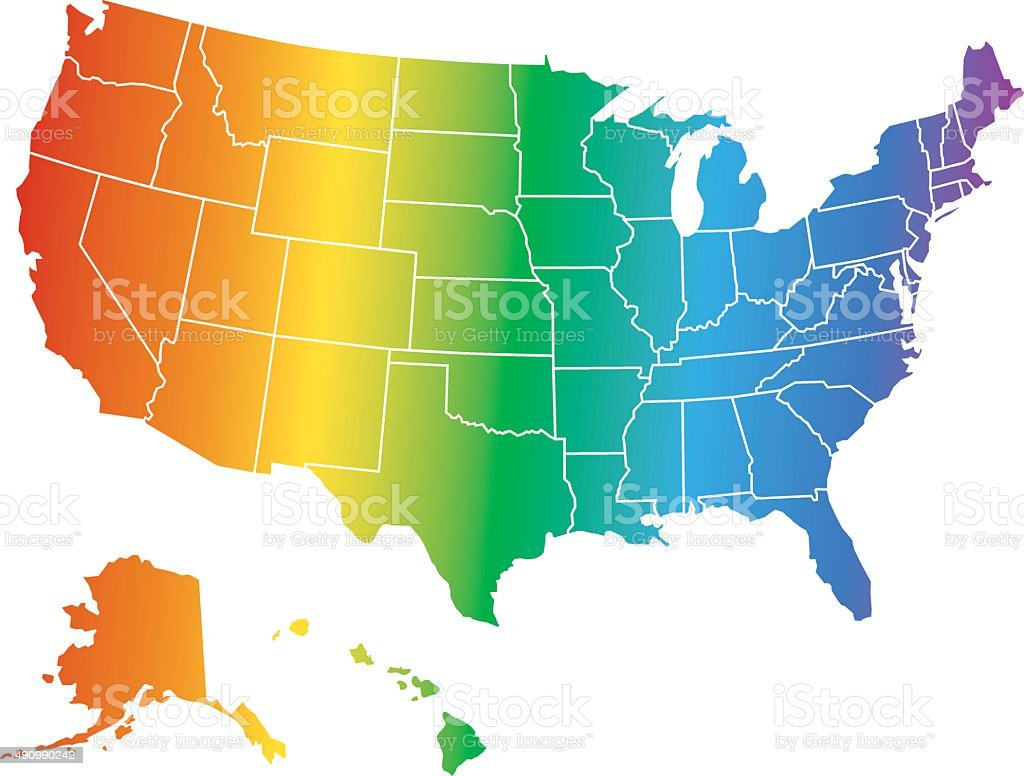 Gay Right Usa Map Stock Vector Art IStock - Us map vector free