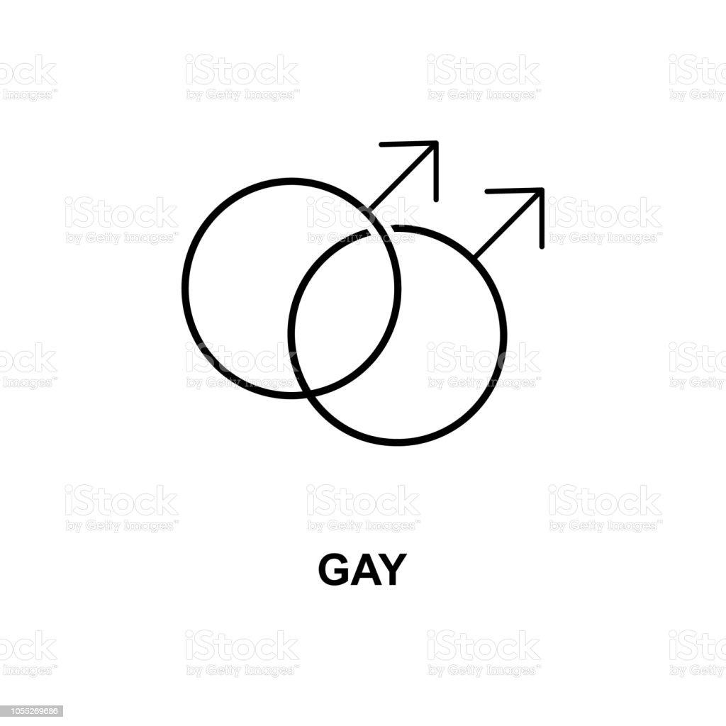 icono de signo de gay. Elemento de icono web simples con nombre para aplicaciones web y concepto. Icono de signo gay delgada línea se puede utilizar para web y móvil - ilustración de arte vectorial