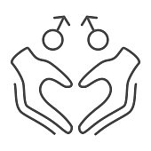 Gay signs with hands in heart shape thin line icon, LGBT couple concept, Homosexual love sign on white background, hands making heart and two male symbols icon in outline style. Vector graphics