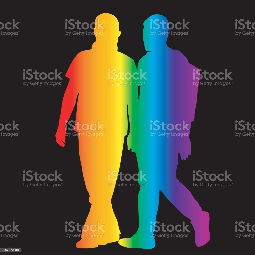 Gay silhouettes in rainbow colors vector art illustration