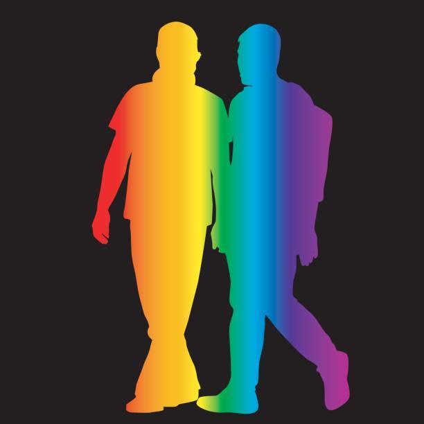 ilustrações, clipart, desenhos animados e ícones de silhuetas de gay em cores do arco-íris - casais do mesmo sexo
