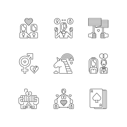 Gay symbolics pixel perfect linear icons set