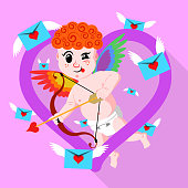 Gay valentines day amour stock vector illustration. Rainbow wings cupid aiming his bow.