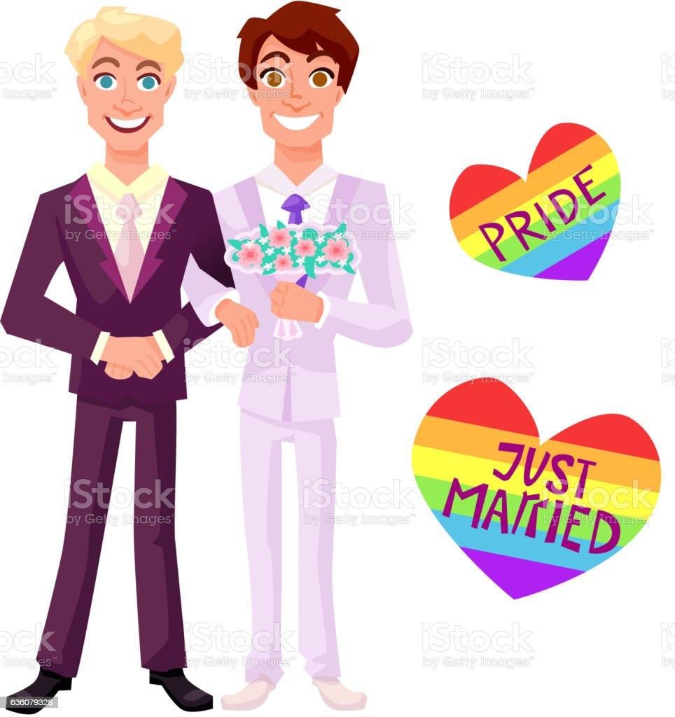 Gay wedding vector illustration - ilustración de arte vectorial