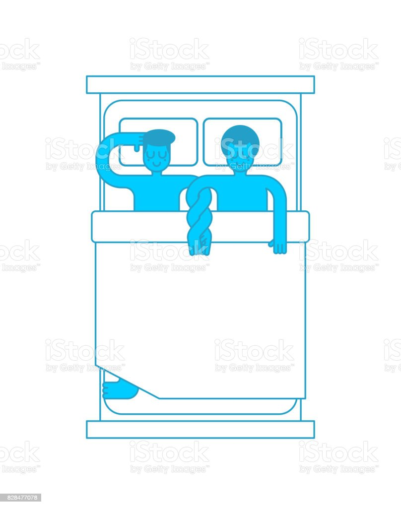 Gays in bed. Two guys are hugging in Sleep. LGBT love. bedstead scene vector art illustration