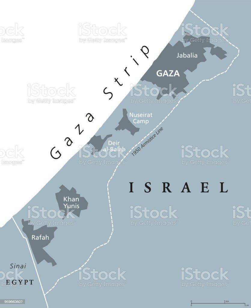 Franja De Gaza Mapa.Ilustracion De Gris Del Mapa Politico De Franja De Gaza Y