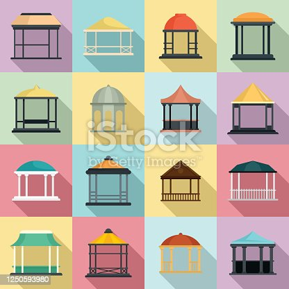 Gazebo icons set. Flat set of gazebo vector icons for web design
