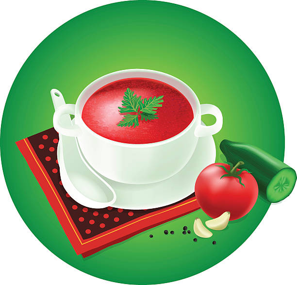 stockillustraties, clipart, cartoons en iconen met gazpacho - groentesoep