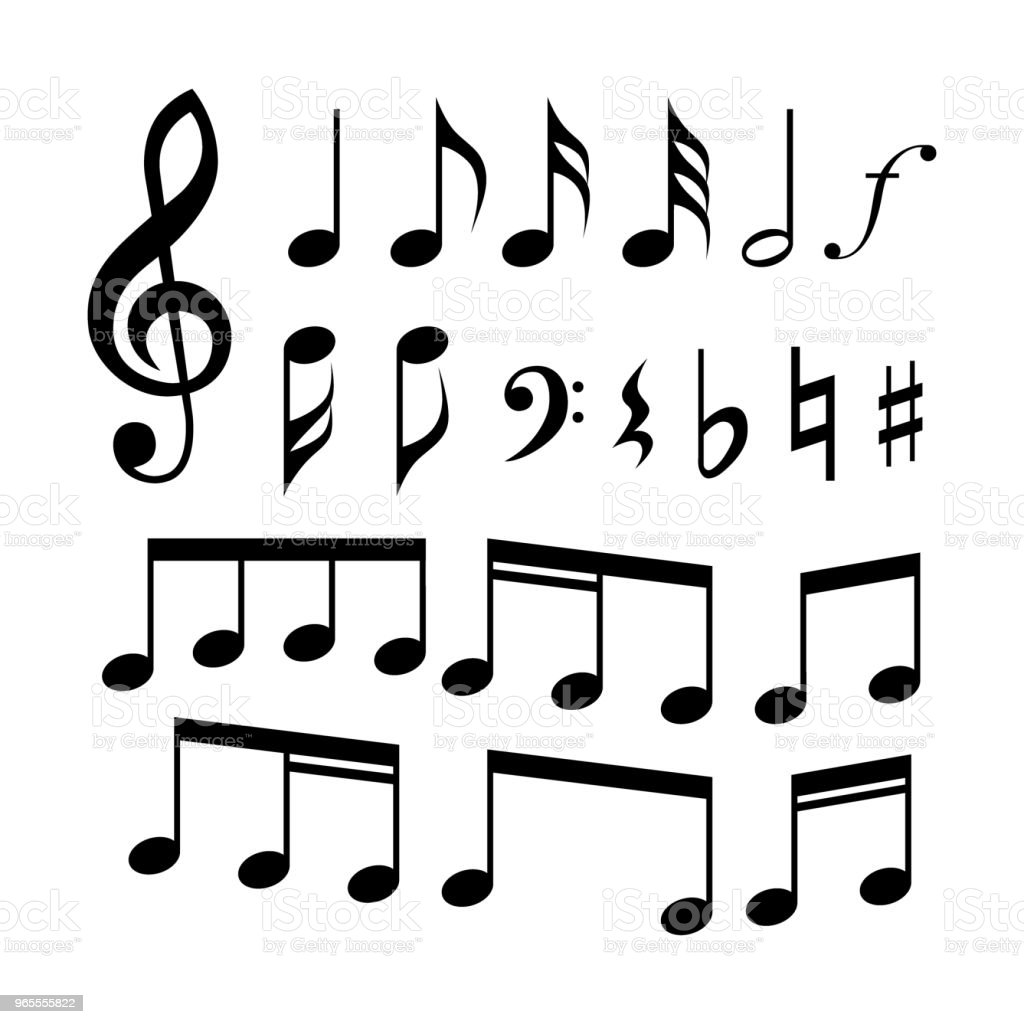 Gclef Cclef Music Notes And Symbols Icon Set Music Signs Stock
