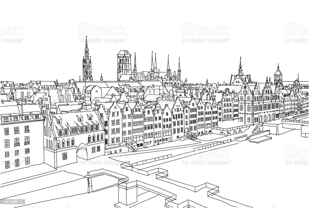 Paysage De Ville De Gdansk Fond De Vecteur Main Dessiné