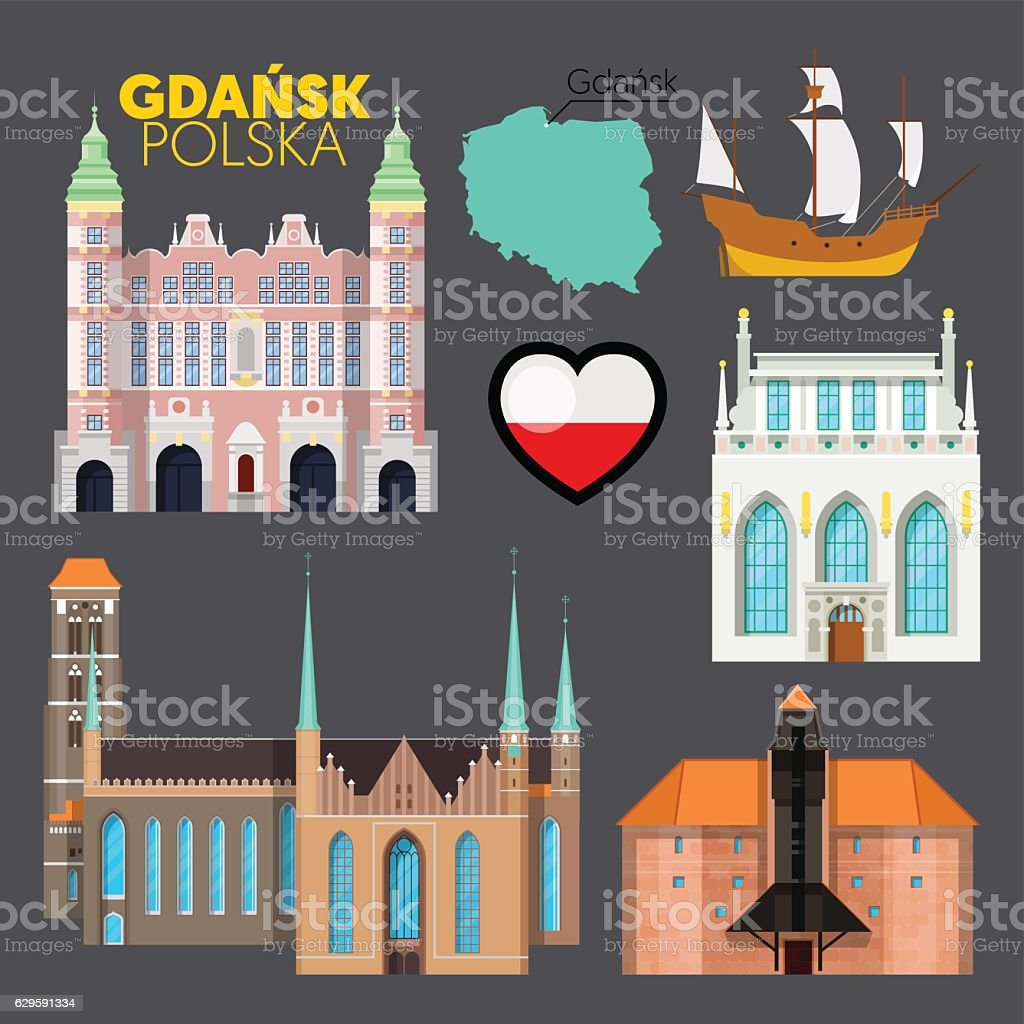 Gdansk Poland Travel Doodle with Architecture vector art illustration