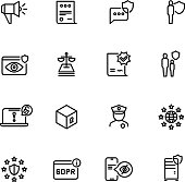 Gdpr line icons. Privacy policy, digital business information safety and new internet standards vector symbols