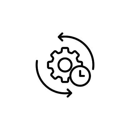 Gear and arrow. Agile process line icon. Process sign. Vector on isolated white background. EPS 10.
