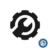 Gear and wrench icon. Service support symbol.