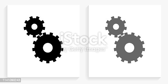 Gear Black and White Square Icon. This 100% royalty free vector illustration is featuring the square button with a drop shadow and the main icon is depicted in black and in grey for a roll-over effect.