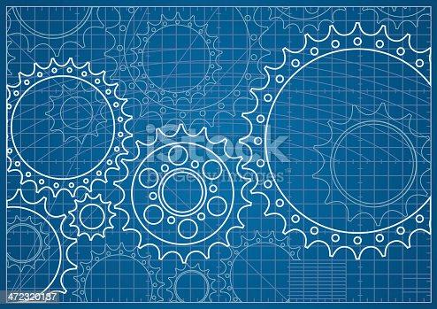 istock Gear Blueprint 472320137