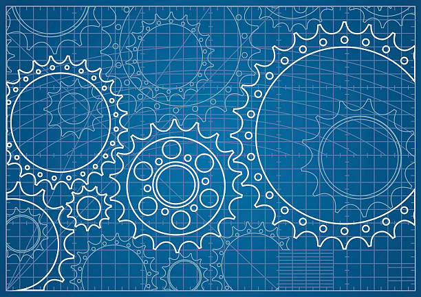 Gear Blueprint Blueprint with Cogs and Wheels. gearshift stock illustrations