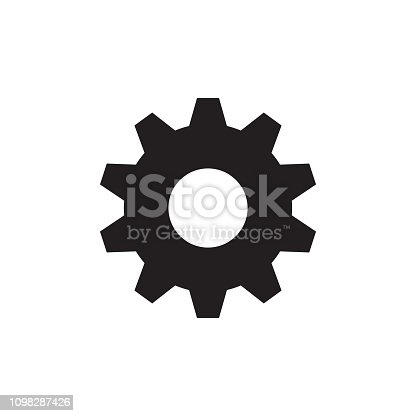 Gear cogwheel - black icon on white background vector illustration for website, mobile application, presentation, infographic. SEO concept sign. Setting. Graphic design element.