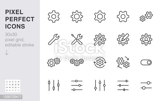Gear, cogwheel line icons set. App settings button, slider, wrench tool, fix concept minimal vector illustrations. Simple flat outline signs for web interface. 30x30 Pixel Perfect. Editable Strokes.