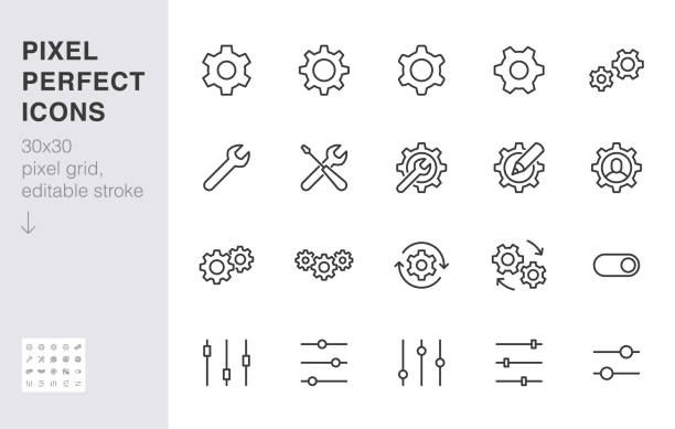 Gear, cogwheel line icons set. App settings button, slider, wrench tool, fix concept minimal vector illustrations. Simple flat outline signs for web interface. 30x30 Pixel Perfect. Editable Strokes Gear, cogwheel line icons set. App settings button, slider, wrench tool, fix concept minimal vector illustrations. Simple flat outline signs for web interface. 30x30 Pixel Perfect. Editable Strokes. work tool stock illustrations