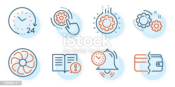 24 hours, Payment methods and Time management signs. Gear, Cogwheel settings and Facts line icons set. Fan engine, Gears symbols. Work process, Engineering tool. Business set. Vector