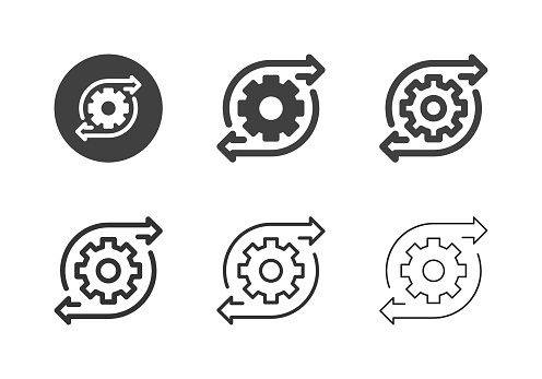 Gear Direction Icons Multi Series Vector EPS File.