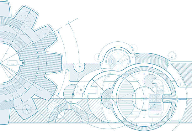 gear draft background Vector draft background with a gear element. Can be easily colored and used in your design. Zip-archive includes *.ai and *.pdf files. machine part stock illustrations