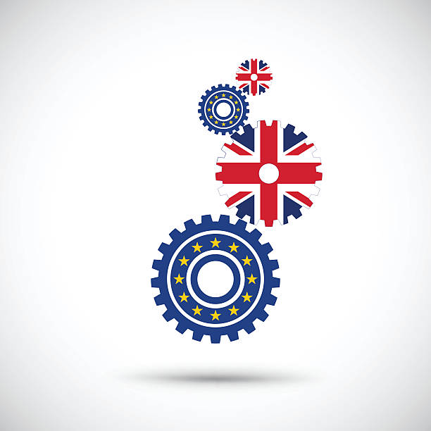 bildbanksillustrationer, clip art samt tecknat material och ikoner med gear driving great britain and european flag - brexit