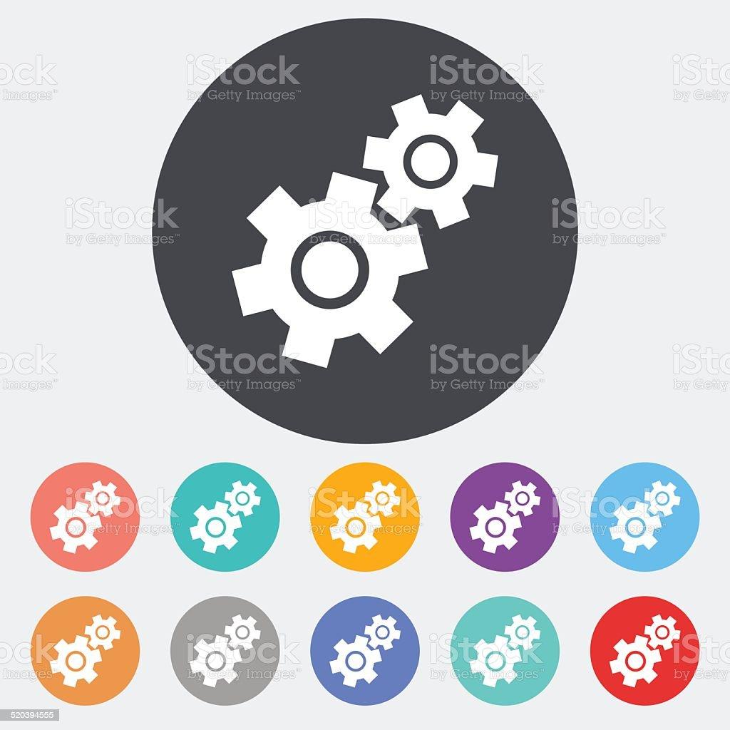 Gear flat icon. vector art illustration