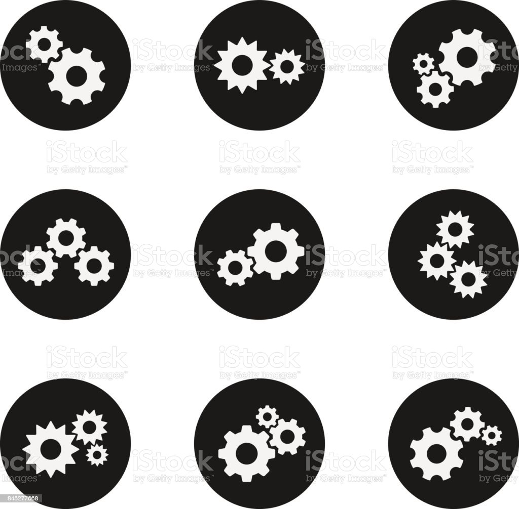 Gear flat wheels icon set vector art illustration